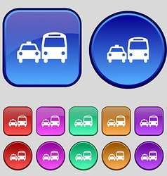 Taxi icon sign a set of twelve vintage buttons for vector