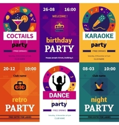 Six color party posters vector