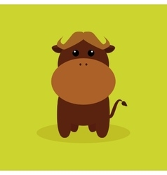 Cute cartoon buffalo vector