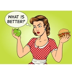 Young woman with apple and burger pop art vector