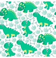 Green dinosaur seamless pattern vector