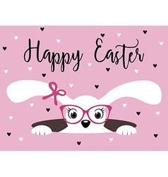 Happy easter bunny girl with glasses vector