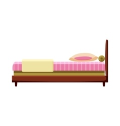 Bed icon in cartoon style vector