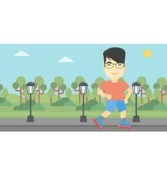 Sporty man on roller-skates vector