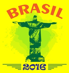 Abstract Brasil 2016 design with statue over yello vector image