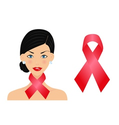 Beautiful woman with aids ribbon vector