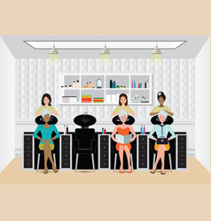 beautiful young woman getting a hair washed by vector image vector image