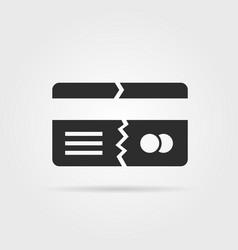 black broken credit card with shadow vector image
