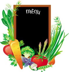 Board menu with a group of vegetables vector