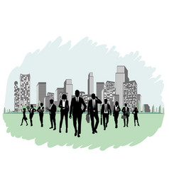 business team silhouette vector image
