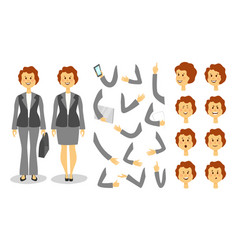 Businesswoman character creation set icons with vector
