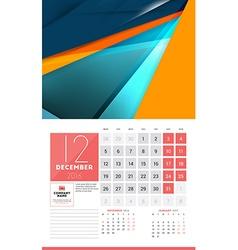 Calendar for 2016 year december design clean vector