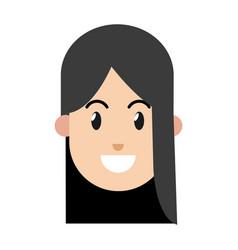 cartoon girl smile black hair vector image