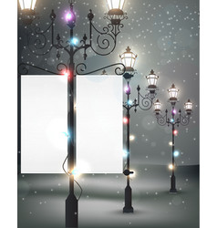 Christmas background with streetlight vector image