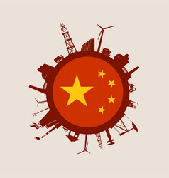 circle with industry relative silhouettes china vector image vector image