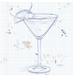 Cocktail whiskey sour on a notebook page vector