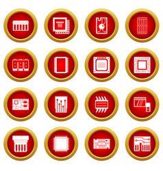 computer chips icon red circle set vector image