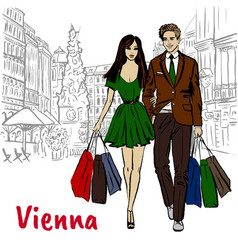 Couple in vienna vector