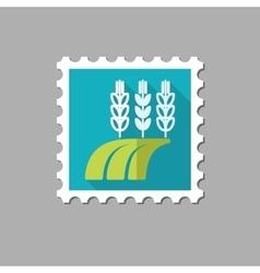 Ears of Wheat Barley Rye on Field stamp vector image