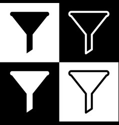 Filter simple sign black and white icons vector