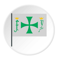 Flag of christopher columbus icon circle vector