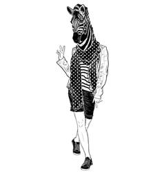 Funny fashion zebra vector