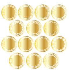 Gold circle labels vector