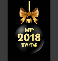 happy new year 2018 postcard with christmas tree vector image vector image