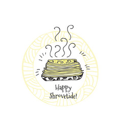 happy shrovetide hand drawn vector image