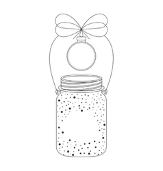 Mason jar with christmas decoration icon vector