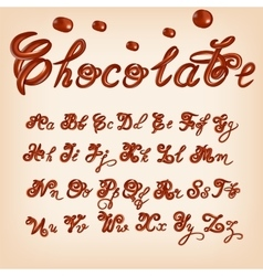 melted chocolate alphabet Shiny glazed vector image vector image