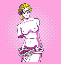 monument of venus in sunglasses pop art vector image