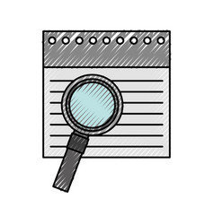 Notebook sheet with magnifying glass vector