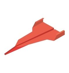 Orange paper plane flying toy vector