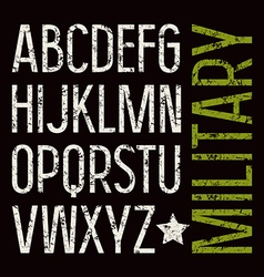 Sans serif font in military style vector image