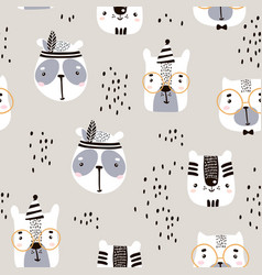 seamless childish pattern with cute animal faces vector image vector image