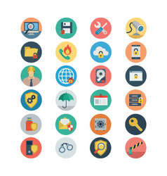 Security Flat Colored Icons 1 vector image