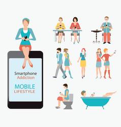Smart phone addiction vector