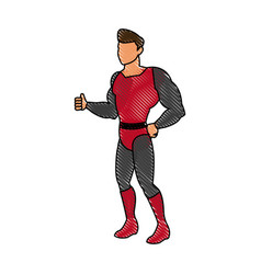 Superhero cartoon suit disguise power style vector