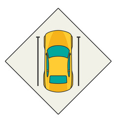 top view of a car parked vector image