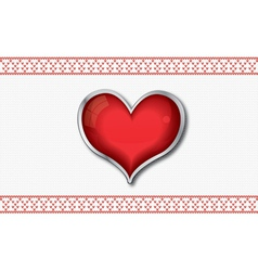Valentine card with red glossy heart vector image