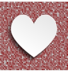 White heart button on red sequin background vector