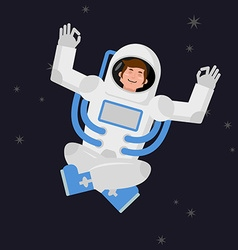 Yoga space astronaut meditating in open space vector