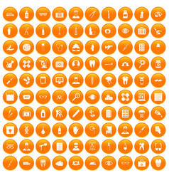 100 doctor icons set orange vector
