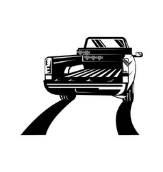 Pickup truck rear retro vector