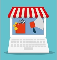 Shopping bag online laptop store market icon vector