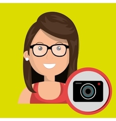Woman camera photography icon vector