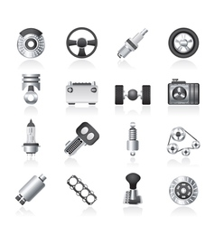 Different kind of car parts icons vector