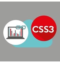 Laptop graphs cloud css3 link web vector