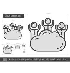 Cloud access line icon vector